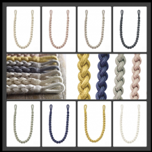 2 Helston Rope Curtain Tiebacks Braided Drape Tie back Fabric Plaited Chain Ties